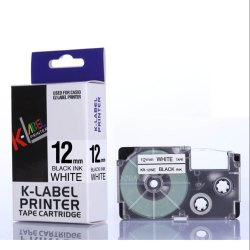 Casio Label Cassette Black on White 12mm XR-12WE 100% Compatible Label Tape for Casio Label Printers