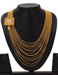 Bindhani Ball Chain Kundan Gold Multistrand Necklaces