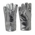 Silver Leather(buff/split/chrome) Aluminized Gloves, Size: Free Size