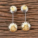 Brass Golden Designer Black Plated Classic Earring 406652
