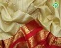 Silk Cream White With Blood Red Kanchi Bridal Sarees