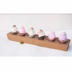 6 Cavity Telescopic Brown Cupcake
