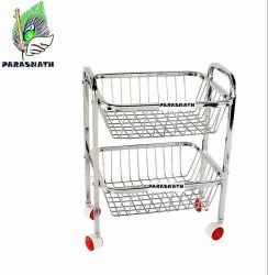 Parasnath Stainless Steel 2 Stand Trolley