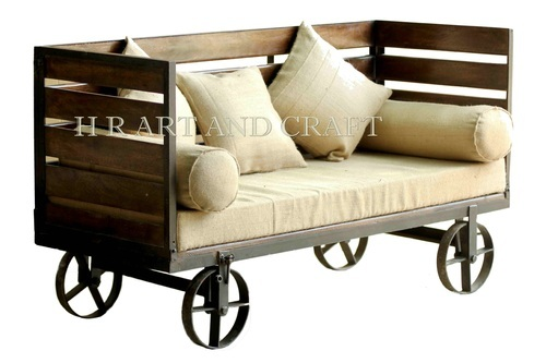 2 Seater Wooden and Metal Vintage Industrial Sofa