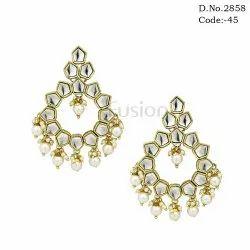 Pearl Kundan Chandbali Earring