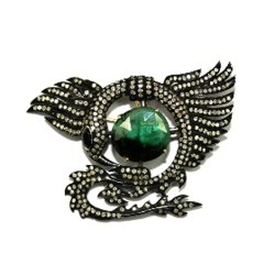 Emerald & Diamond Brooch
