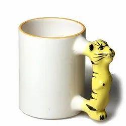 absprints White Animal Handel Photo Printing Ceramic Coffee Mug Sublimation, For Home, Size: 11 Oz