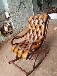 Wooden Leather Rocking Chair