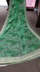 Embroidered Net saree, Size: 6.5m
