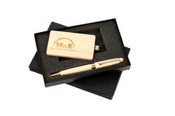 Wooden Pen Set With Pen-Drive