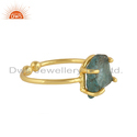 Natural Apatite Gemstone Gold Plated Silver Rings