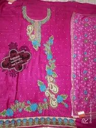 Rani Salwar UNSTICH Embroidered SUITS, Size: FREE SIZE