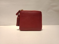Red Genuine Leather Wallet, Size: Small