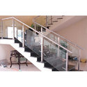 Straight Run Stainless Steel Staircase