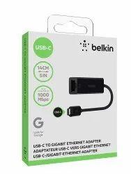 Black Belkin USB Type-C to Gigabit Ethernet Adapter