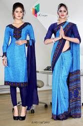 Dark Blue and Light Blue Italian Crepe Uniform Saree Kurti Combo