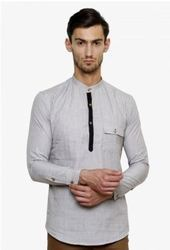 Grey Cotton Full Sleeved Kurta