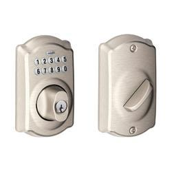 Schlage Satin Nickel Camelot Trim Keypad Deadbolt