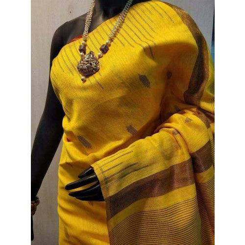 Ladies Yellow Designer Saree with Blouse Piece, Length: 6.5 m