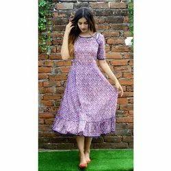 Ladies Purple Flare Dress