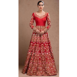 Red Embroidered Bridal Gown, Size: Small,Medium,Large