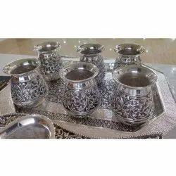 Carved Silver Tray Glass Set