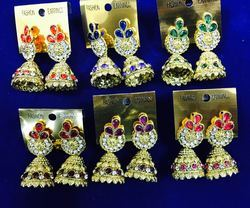 Stone Gold Jhumki Indian Earrings