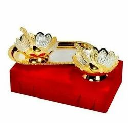 Silver And Gold Plated Brass Bowl Tray With Spoon Set Of 5 Pcs