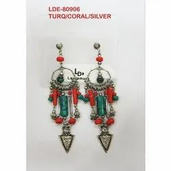 Stone And Metal Party Wear LDE-80906 Fashionable Earrings, Packaging Type: Box, Size: 3 - 4 Inches