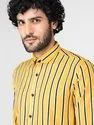 Stripe Yellow Full Sleeve Men Casual Cotton Viscose Shirt