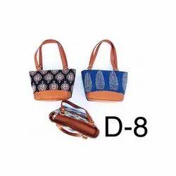 Canvas Ladies Ajrakh Print D8 Handicrafts Bags