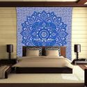 Indian Blue Queen Cotton Printed Mandala Tapestry Throw