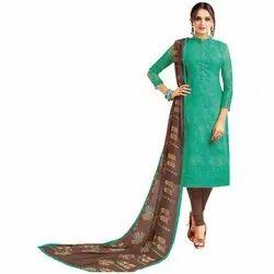 Rajnandini Turquoise Green Chanderi Silk Printed Semi-Stitched Dress Material With Printed Dupatta