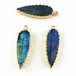 Blue Flash Labradorite Slice Pear Shape Charms - Gold Electroplated Gemstone Jewelry Charms Pendant