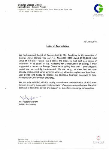 Letter of Appreciation from Crompton & Greaves