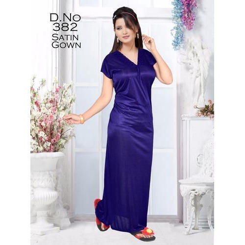 e910df82d8 Blue Plain Satin Nightgown