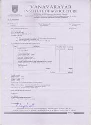 Order Copy of Vanavarayar Institute of Agriculture for commercial boiler.