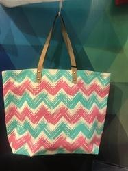 Canvas Beach Bag With Chevron Print