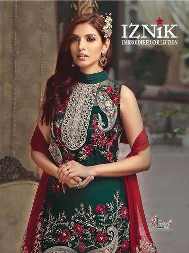 d0bf6fda2b Shree Fab Iznik Semi-Stitched Embroider Pakistani Salwar Suit, Rs ...
