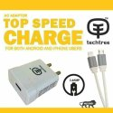 Techtree  2.4 Amp Charger With USB V8 Datacable