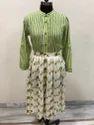 Lavanya Flower base skirt with strips shirt combo- green colour