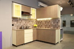 Stainless Steel L Shape Mild Steel Modular Kitchen In Wooden Finish