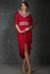 Charming Maroon Knee Length Dress