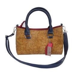 Spice Art Tan And Black Leather Satchel Bag