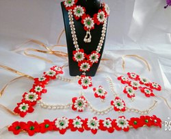 Artificial Red Flowers Jewellery for Baby Shower
