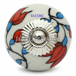Red And Blue Floral Ceramic Door Knobs