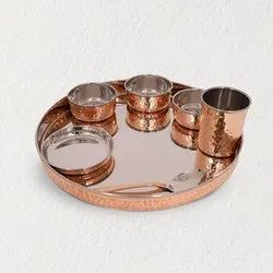 Copper Thali Set of 7 Pcs