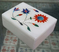 White Marble Stone Inlay Box