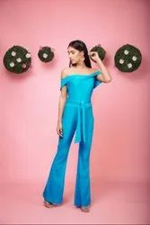 Off Shoulder Stretchable Jumpsuit With Matching Belt