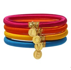 New Arrival Girls trendy Handmade Colorful Gold plated Charm Silk Thread Bangles